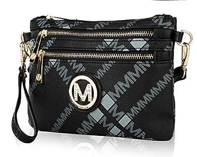 Mia K. Collection Crossbody Bags for Women - Removable Adjustable Strap Handbag Wristlet - Small Vegan Leather Messenger Purse Black