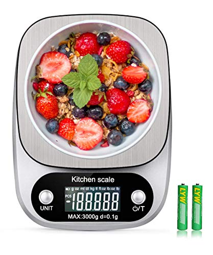 Digital Kitchen Food Scale 3000g/0.1g Multifunction Weight Scale Gram and Ounces, Electronic Jewelry Scale High Precision LCD Display/Stainless Steel/Tare/G OZ LB ML FL.OZ/Batteries Included