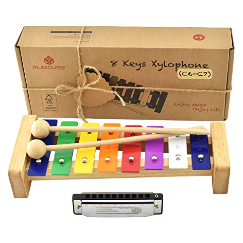 MUSICUBE Xylophone for Kids Wooden Xylophone with Mallets Orff Music Instrument for Educational Preschool Learning Baby Percussion Kit Professional Tuning Gift Choice for Children Harmonica Included