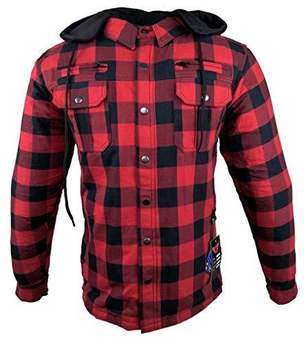 EURO STARS Motorrad- und Flanell-Holzfällerhemd mit KEV ARAMID Lumber Biker Jacke Hemd (XL, Rot)