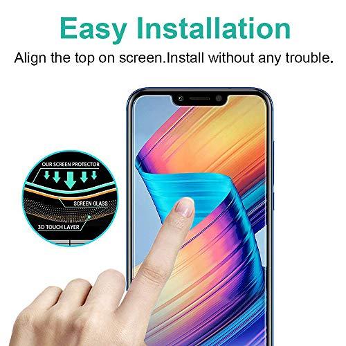Ash-case [2 Stück] Panzerglas Schutzfolie für Huawei Honor Play, Anti- Kratzer, Bläschenfrei, 9H Härte, HD-Klar, 3D Runde Kante, Transparent+1xNano Explosion - Proof Membrane - 4