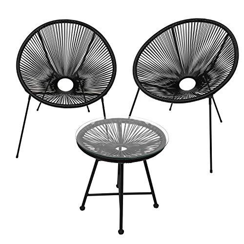 EINFEBEN Gartenmöbel Set Acapulco Stuhl mit Tisch Balkonmöbel Retro Design Rattanstuhl Beistelltisch Balkontisch Outdoorgeeignet Wetterfest Lounge Balkon Terrasse Schwarz