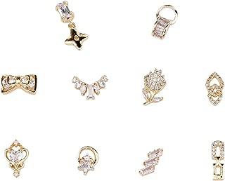 10pcs Gold Nail Dangle Star Zircon Stones Bows 3d Nail Art Decoration Flower Rhinestones Jewelry Design Supplies