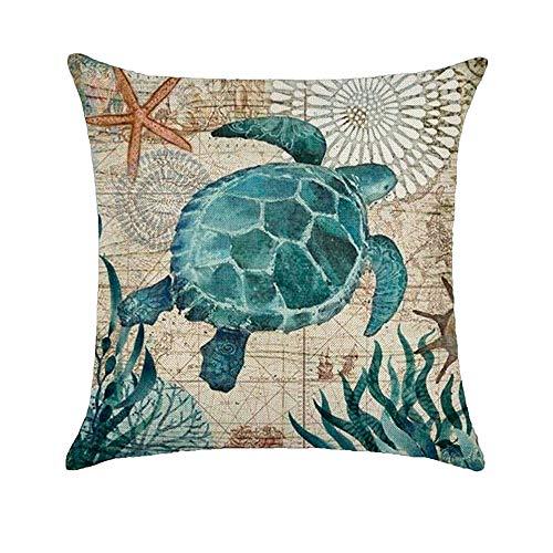 Amesii, funda de cojín con diseño clásico de tortuga, ballena y concha de mar.Para cama, sofá. De 45 cm x 45 cm