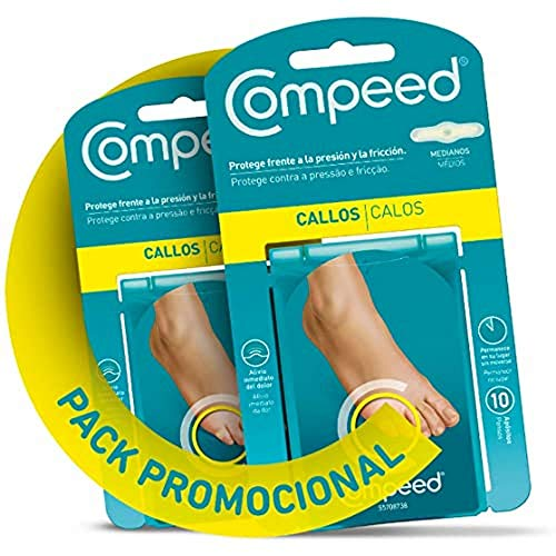 COMPEED Callos Protección - Medianos, 10 Apósitos Hidrocoloides - Pack de 2 (total 20), Tratamiento de pies para la eliminación Natural del Callo, Tamaño del apósito 1,7 x 6,0 centímetros
