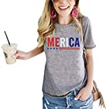 Umsuhu 4th of July Shirts Women Distressed American USA Flag Graphic Tees T Shirts Small Gray