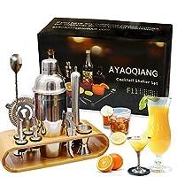 ayaoqiang cocktail shaker set di 12 pezzi, kit attrezzatura bar in acciaio inox, shaker 750 ml, jigger bar spoon ect per drink cornice in legno.