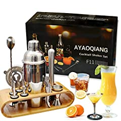 AYAOQIANG Cocktail Shaker Set rostfritt stål 12 piece cocktailbar set bar tillbehör Cocktail Set 750 ML Cocktail Shaker med trästativ