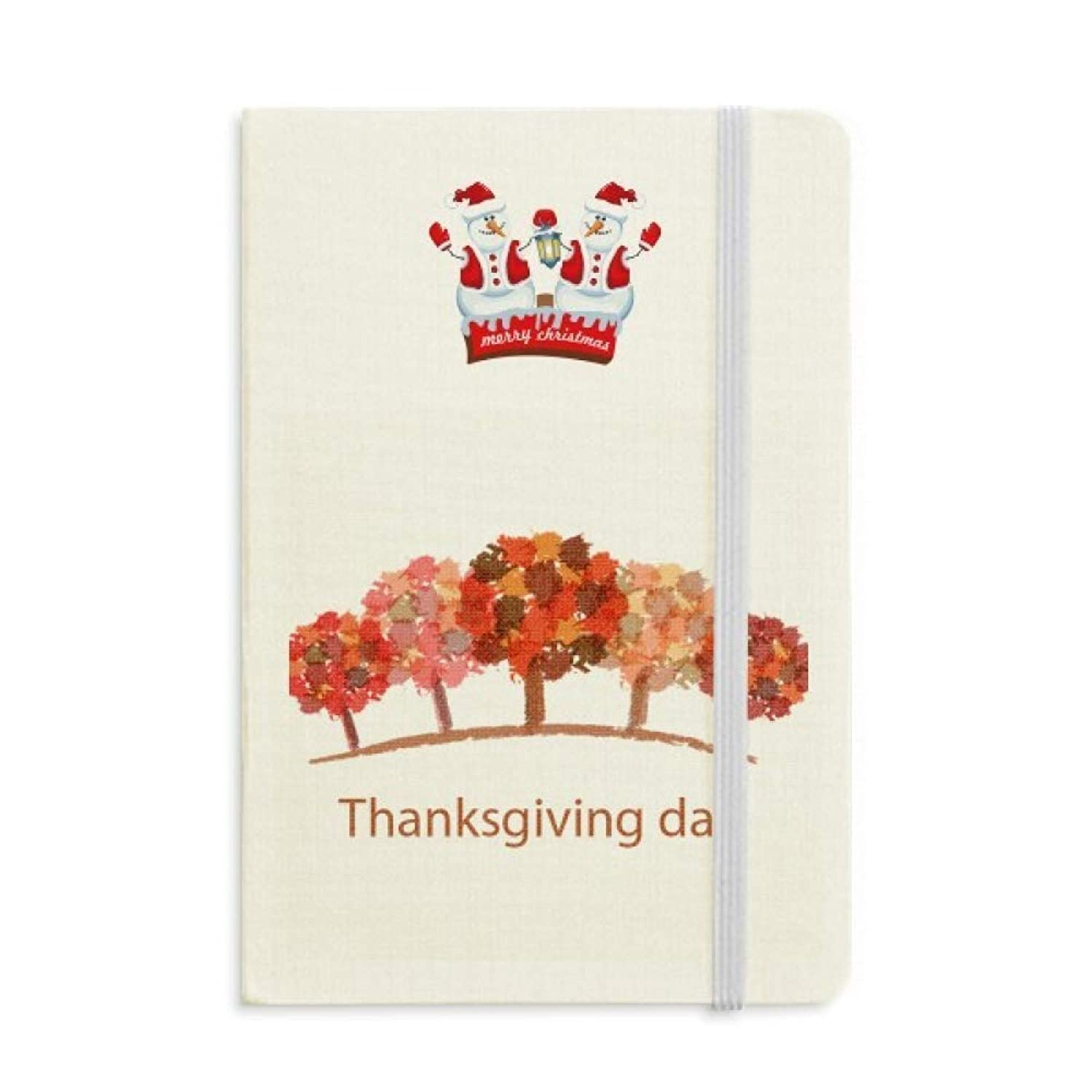 Thanksgiving Day Red Tree Watercolor Pattern Christmas Snowman Notebook Thick Hardcover