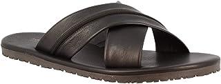 Leonardo Shoes Sandali da Uomo Realizzati a Mano in Pelle di Vitello Nera con Fasce Incrociate - Codice Modello: M6160 Vit...
