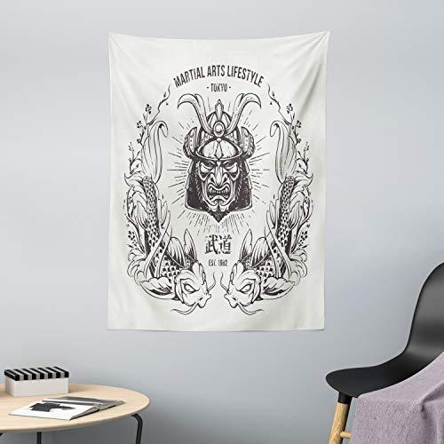 ABAKUHAUS japanisch Wandteppich & Tagesdecke, Samurai Koi, aus Weiches Mikrofaser Stoff Wand Dekoration Für Schlafzimmer, 110 x 150 cm, Coconut Grau