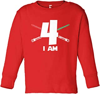 I Am - Birthday Gift Present Years Old Long Sleeve Toddler Cotton Jersey Shirt (Red, 2T)