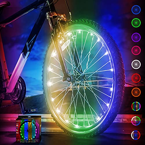 Activ Life światła do szprychów rowerowych (1 opona, zmieniające kolor) zabawne akcesoria do fajnych plażowych cruiserów, Top Mountain, BMX Trick, drogi, leżące, dojazdy do pracy, tandem, najlepsze dzieci i składane lampki na koła rowerowe