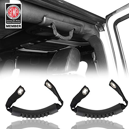 Hooke Road Windshield Pillar Grab Handle for 2007-2018 Jeep JK Wranger Unlimited 4-Door (Black,Pack of 2)