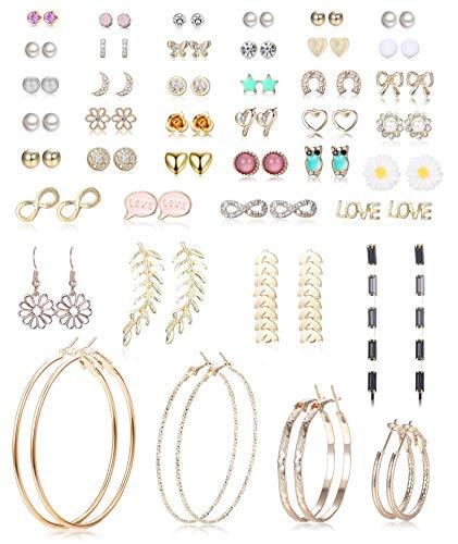 LOLIAS 42 Pairs Assorted Multiple Stud Earrings Set for Women Girls Simple Hoop Earring With Card Packaging Bar Moon CZ Leaf Earring Bohemian Retro Crawler Chic Earrings Hypoallergenic