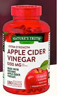Nature's Truth Organic Apple Cider Vinegar Extra Strength Quick Release 1200 MG Gluten Free, Dairy Free, Non -GMO, No Preservative - 180 Vegetarian Capsules (1 Pack - 180 Capsules)