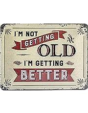 Nostalgic-Art Retro plåtskylt Word Up – 'I'm not Getting Old – presentförslag till födelsedag, tillverkad av metall, vintage design med ordspråk, 15 x 20 cm