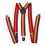 Tirantes para hombre, forma de Y, tirantes de arcoíris Accesorios Tirantes ajustables en la espalda en Y Mujeres Hombres Adultos 3 clips Regalo Pantalones Tirantes Tirantes de arcoíris Accesorios