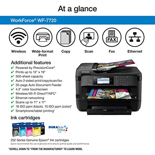 Epson WorkForce WF-7720 Wireless Wide-format Color Inkjet Printer with Copy, Scan, Fax, Wi-Fi Direct and Ethernet, Amazon Dash Replenishment Ready Photo #6