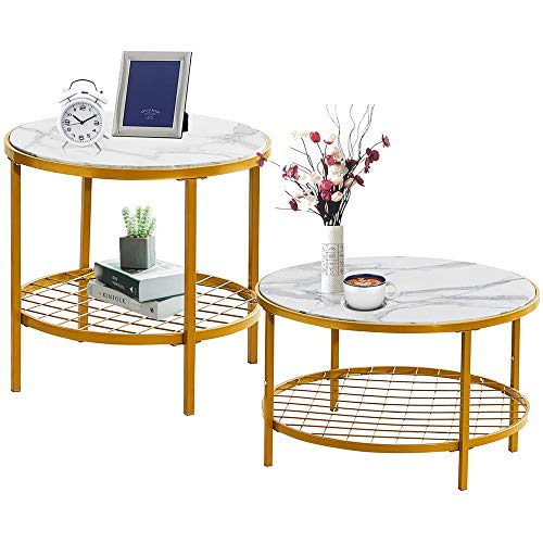 TCZ1557 Gold Coffee Tables,Gold Round Small Nesting Side End Set of 2 with Marble Effect Top for Living Room Bedroom