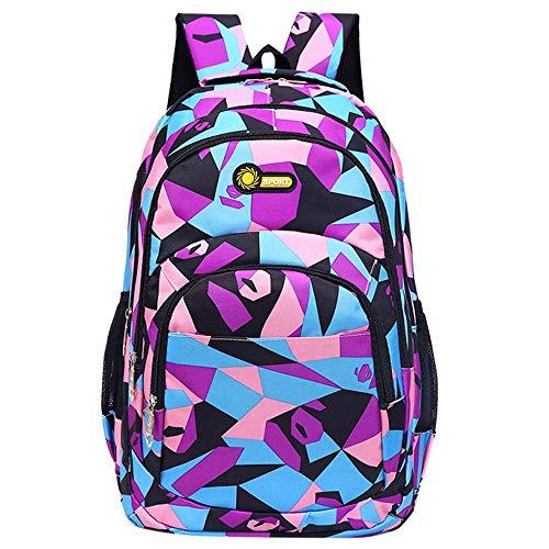 Watopi Geometric Prints Primary Elementary School Student Satchel Anti Theft Pink Flower Backpack for Girls Waterproof Schoolbag Lightweight Everyday Use
