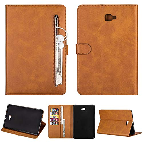 """SEEYA Tablet Case for Samsung Galaxy Tab A 10.1""""2016 SM-T580 / T585 PU Leather Tablet Magnetic Clasp Protective Case Wallet Smart Zipper Flip Cover with Stand Card Slots Brown"""