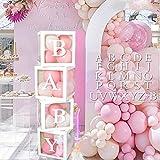 APERIL Kit de Caja de Decoración para Baby Shower, 4 Cajas de Globos Transparentes Blancas con Letras BABY + A-Z, Decoraciones de Fiesta para Baby Shower/Niño y Niña Revelación de Género/cumpleaños