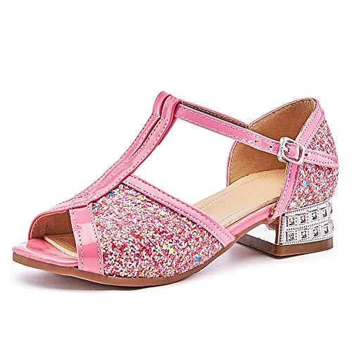 HIPPOSEUS Sandalias Lentejuelas Brillo Princesa Zapatos de Vestir de Verano con Correa en el Tobillo en Fiesta de Bodas, cumpleaños, Rendimiento para niñas, Rosa, EU 28