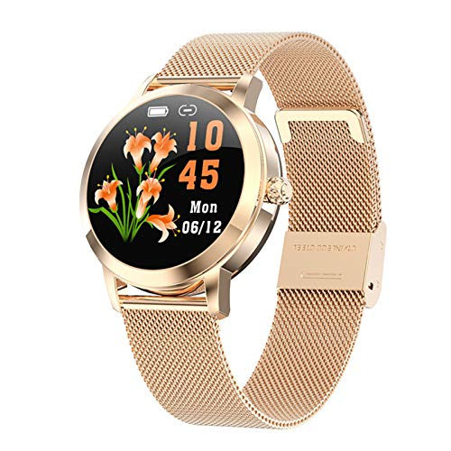 ZEIYUQI Reloj Inteligente Redondo para Mujeres y Niñas,IP68 Impermeable BT5.0 Esfera de Reloj Dinámica,Reloj Inteligente Digital Femenino,Compatible con Relojes Deportivos Android iOS,Gold