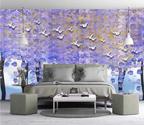 3D Murales Papel Pintado Pared Calcomanías Decoraciones Paloma Blanca Abstracta En Relieve Árbol Púrpura Arte Tv Infantil (W)140x(H)100cm