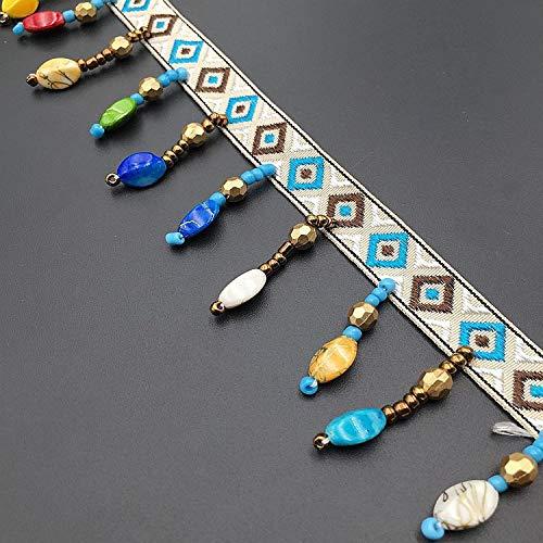 Bohemianischer Regenbogen-Boho-Perlen, Quasten, Pompon, Fransen, Stickerei-Band, Spitzenbesatz für Handarbeit/Kostüme/DIY pro Yard 5Yards Artificial Stone