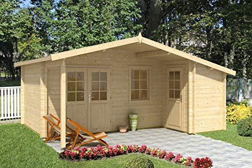 Alpholz Gartenhaus Nordkapp aus Massiv-Holz | Gerätehaus mit 44 mm Wandstärke | Garten Holzhaus inklusive Montagematerial | Geräteschuppen Größe: 538 x 448 cm | Satteldach