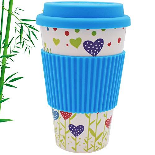 Apto Lavavajillas Eco sin BPA Vaso Caf/é para Llevar Reutilizable ♻ Vaso de Cafe de Fibra de Bambu con Tapa de Silicona y Funda Antideslizante Taza de T/é Ecologica de Viaje Bio Coffee To Go