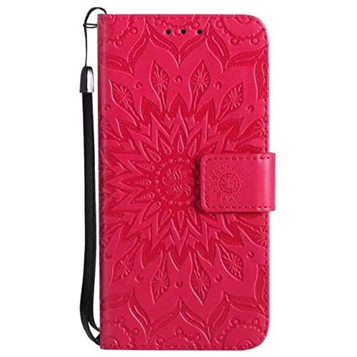 A-slim iPhone X Wallet Case, (TM) Sun Pattern Embossed PU Leather Magnetic Flip Cover Card Holders & Hand Strap Wallet Purse Case for iPhone X 2017 - Red