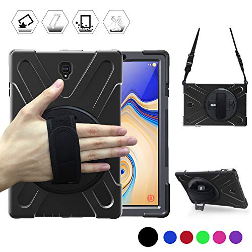 Galaxy Tab S4 10.5 Case, BRAECN [Shoulder strap] [Hand Strap] [Rototating Kickstand] Heavy Duty Shock-proof Protecitve Case for Samsung Galaxy Tab S4 10.5 2018 Model SM-T830/T835/T837 Tablet (BLACK)