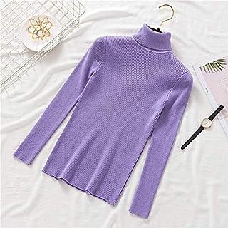 QMGLBG Moda de Invierno para Mujer de Punto de Costilla doblada Cuello Alto suéter suéter Informal Suave Jersey elástico Ropa