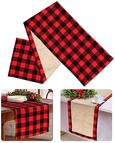 AIOXY PartyTalk Christmas Table Runner Red Cotton Buffalo Check Plaid and Burlap Double Sided Table Runner for Holiday Winter Home Decorations, 180 x 38cm
