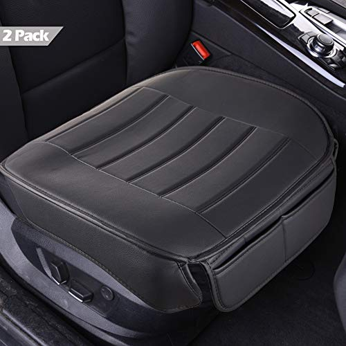 Car Seat Covers 2 Pack, Edge Wrapping Car Front Seat Covers Pad Mat for Auto Supplies Office Chair with PU Leather (Black)