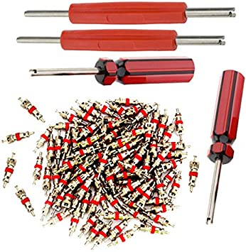 wufeng Dual//Single Head Valve Core Remover Tools 4-Way Tire tool kit Valve Repair 4pcs Brass Valve Cores Kit Set