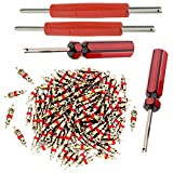 Tire Repair Tool Set - 4 x Dual Single Head Valve Core Remover and 100 Pieces Car Truck Replacement Tire Tyre Valve Stem Core Part