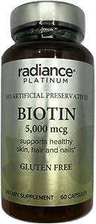 RADIANCE PLATINUM BIOTIN 5000 mcg Hair Skin Nails Gluten Free