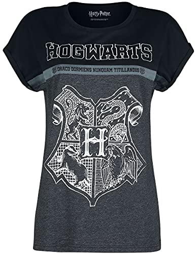 Harry Potter Hogwarts Frauen T-Shirt schwarz/grau meliert L 100{d394a98fa7f5ef2f7233f083dac3907d30846492be39671c000de583435858d7} Baumwolle Fan-Merch, Filme