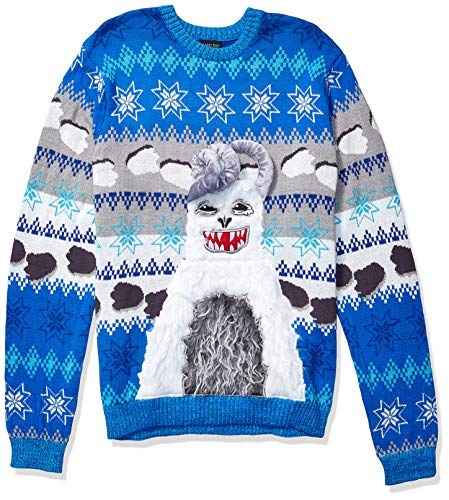 Blizzard Bay Men's Ugly Christmas Sweater Drink Pocket, Blue/White, Large