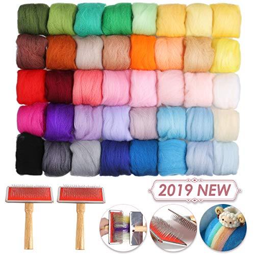 Jeteven 40 Farben Filzwolle Schafwolle mit 2 Mischbürsten Craft zum Nassfilzen und Trockenfilzen zum Kämmen von feinem Dekorationsfilz DIY Craft