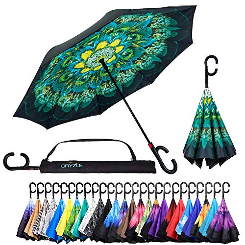 Reverse Inverted Inside Out Umbrella - Upside Down UV Protection Unique Windproof Brella That Open Better Than Most Umbrellas, Reversible Folding Double Layer (Peacock, 23 Inch X 8 Panels)