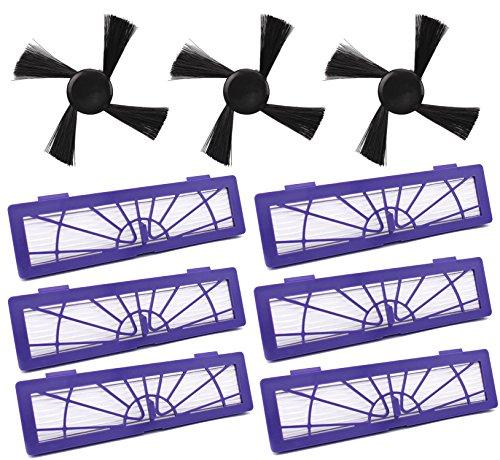 OxoxO Remplacement Filtre HEPA Brosses latérales Connectées Accessoires pour toutes les pièces d'aspirateur Neato Botvac Robotics 70e 75 80 Haute Perf