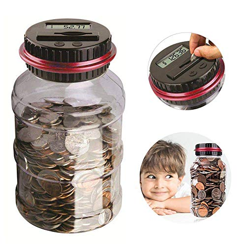 Digital Coin Bank, 2.5L Coin Piggy Bank Counter LCD Counting Coin Money Bank Toys Gifts for Kids Children (Red)