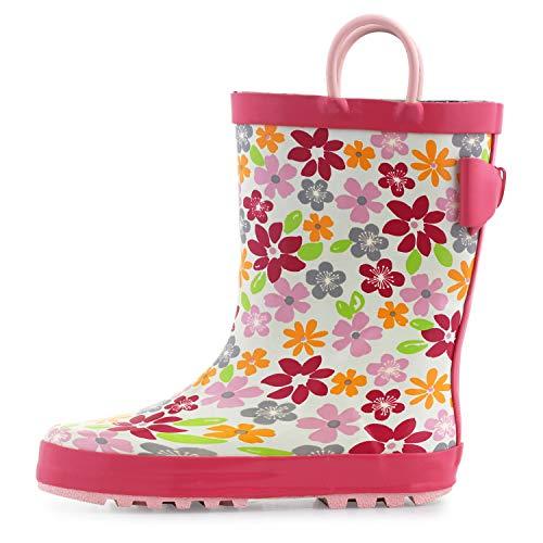 KomForme K Kids Girl Boy Rain Boots, Waterproof Rubber Printed with Handles