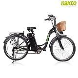 NAKTO/SPARK bicicleta eléctrica de 26 pulgadas para mujeres adultas. Motor sin escobillas de alta velocidad, freno en V, cambio deportivo Shimano de 6 velocidades, cargador de batería grande extraíble