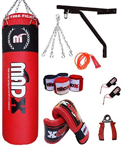 MADX Gefüllter schwerer Boxsack, 120 cm, schwarz, Set aus Kette, Halterung, Handschuhen, Springseil